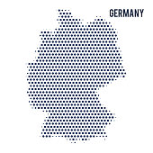 Dotted map of Germany isolated on white background.