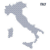 Dotted map of Italy isolated on white background.