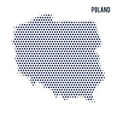 Dotted map of Poland isolated on white background.