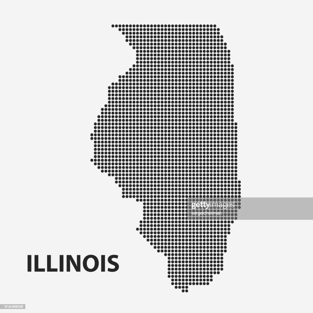 Dotted map of the State Illinois. Vector illustration.