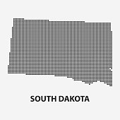Dotted map of the State South Dakota. Vector illustration.