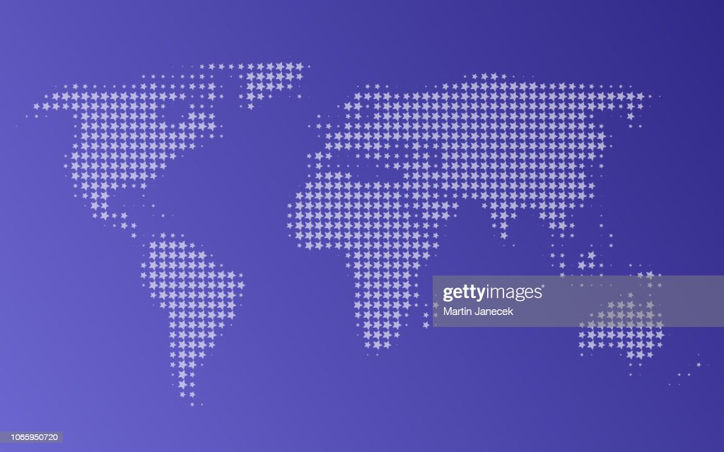 Dotted map of World, vector illustration