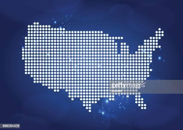 Auf Luftblasen Hintergrund weiß gepunktete Karte der USA