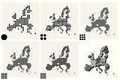 Dotted maps of European Union in different resolutions