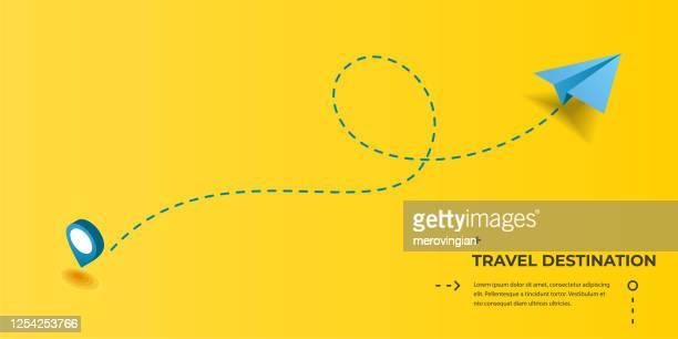 illustrations, cliparts, dessins animés et icônes de piste pointillée avec plan de papier et broche. vol, vacances, vacances, voyages, voyages ou voyage touristique - destination de voyage