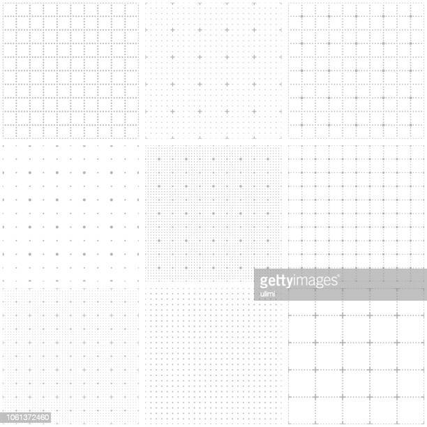 dotted seamless pattern, grid paper - dotted line stock illustrations