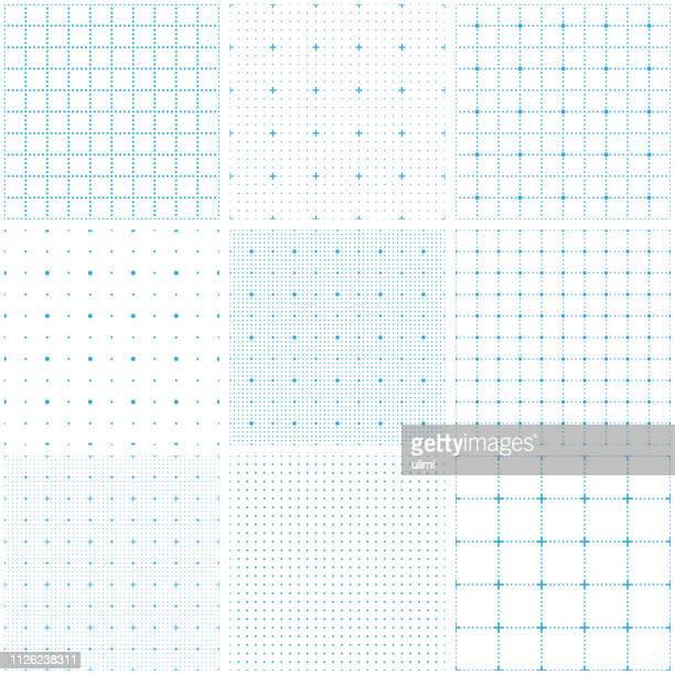 illustrazioni stock, clip art, cartoni animati e icone di tendenza di dotted seamless pattern, grid paper - motivo a griglia