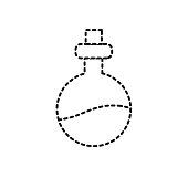 dotted shape erlenmeyer flak with chemical potion experiment