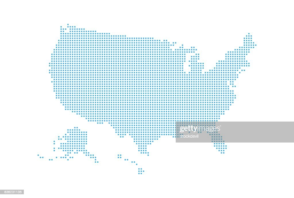 Dotted style map of USA and white background