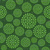 Dotted textured circles green abstract background