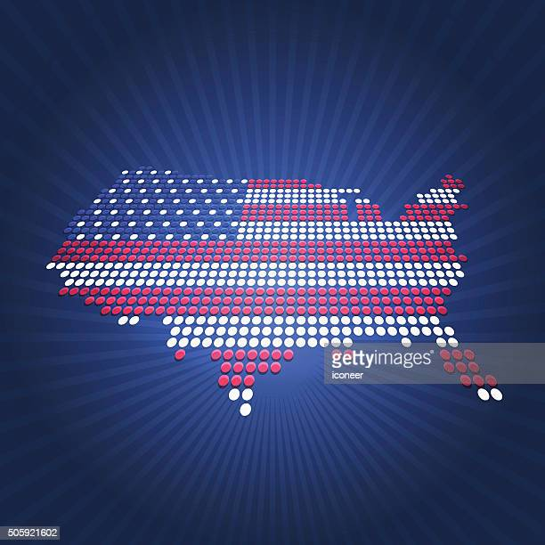 Dotted USA election flag map perspective view on blue background