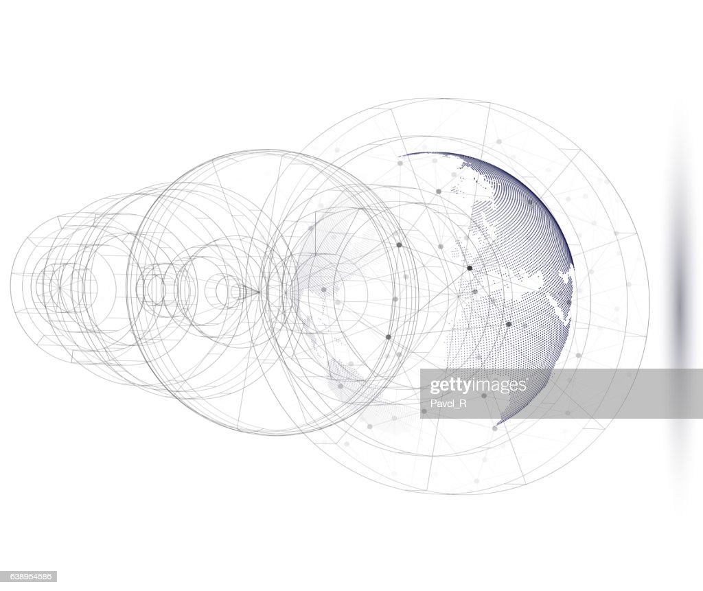 Dotted world globe with abstract construction, connecting lines and dots