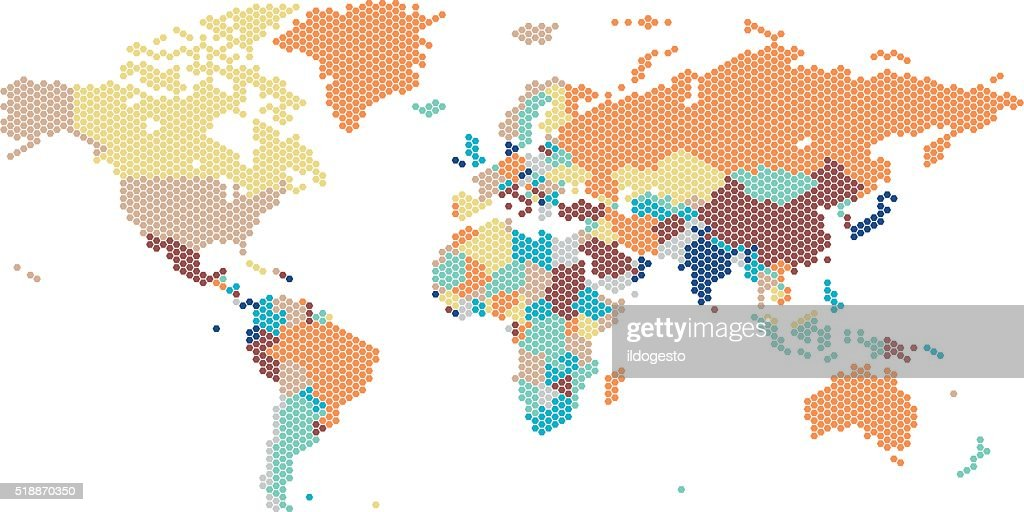 Dotted World map of hexagonal dots
