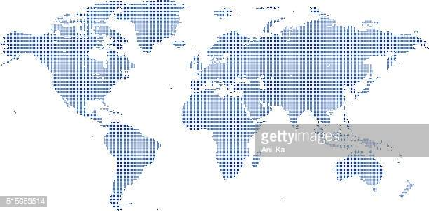 dotted world map - spotted stock illustrations