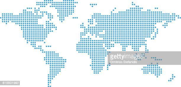 dotted world map. - spotted stock illustrations