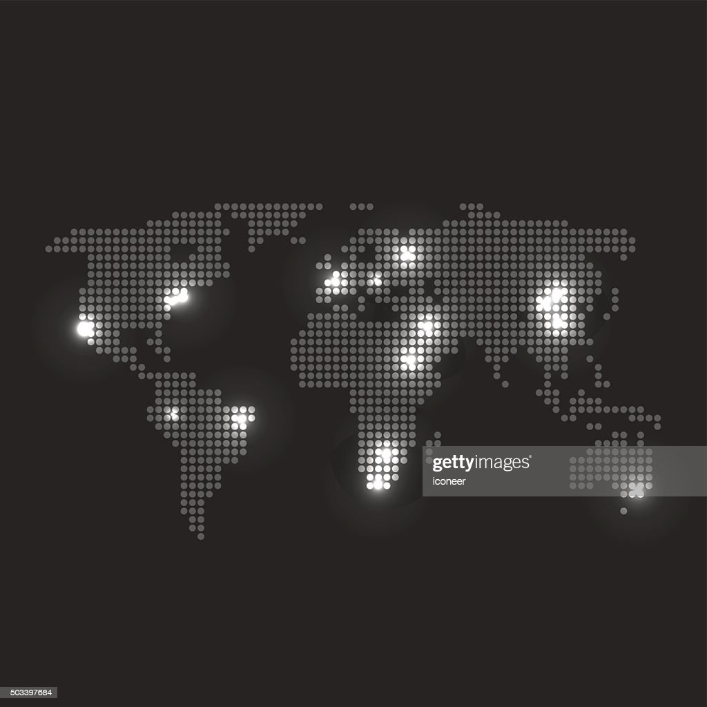 Dotted world map with city lights on dark grey background vector art dotted world map with city lights on dark grey background vector art gumiabroncs Image collections