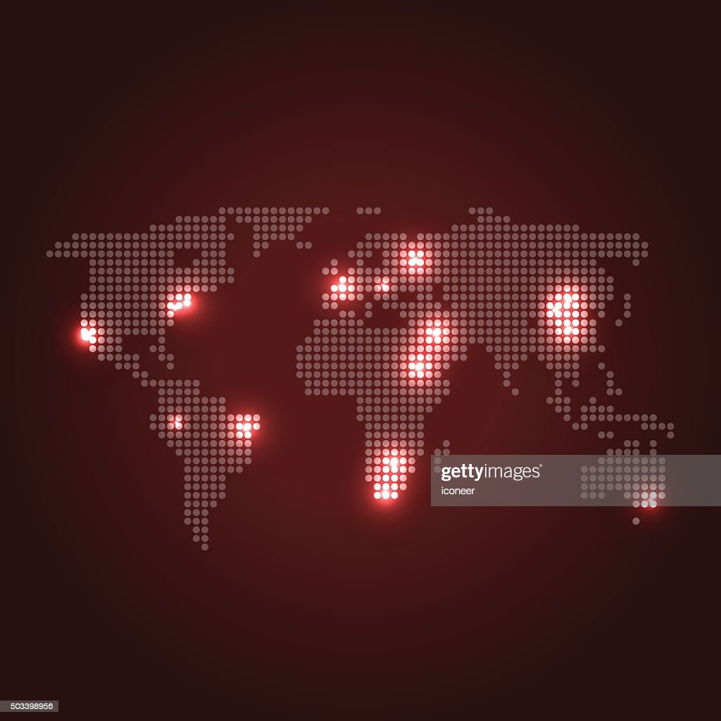 Dotted world map with city lights on dark red background vector art dotted world map with city lights on dark red background vector art gumiabroncs Images