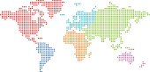 Dotted world map with colored continents.