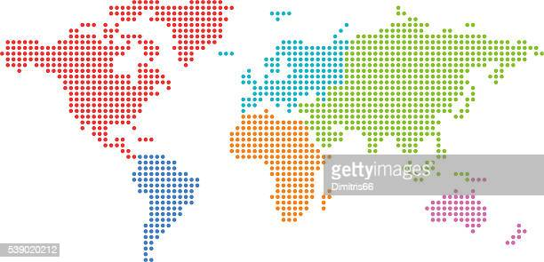 dotted world map with colored continents. - simplicity stock illustrations, clip art, cartoons, & icons