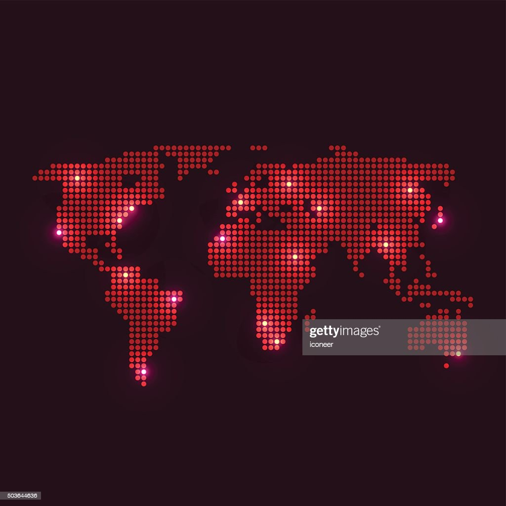 Dotted world map with lights on dark background vector art getty dotted world map with lights on dark background vector art gumiabroncs Choice Image