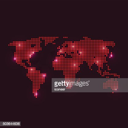 Dotted world map with city lights on dark blue background vector similar images sciox Choice Image