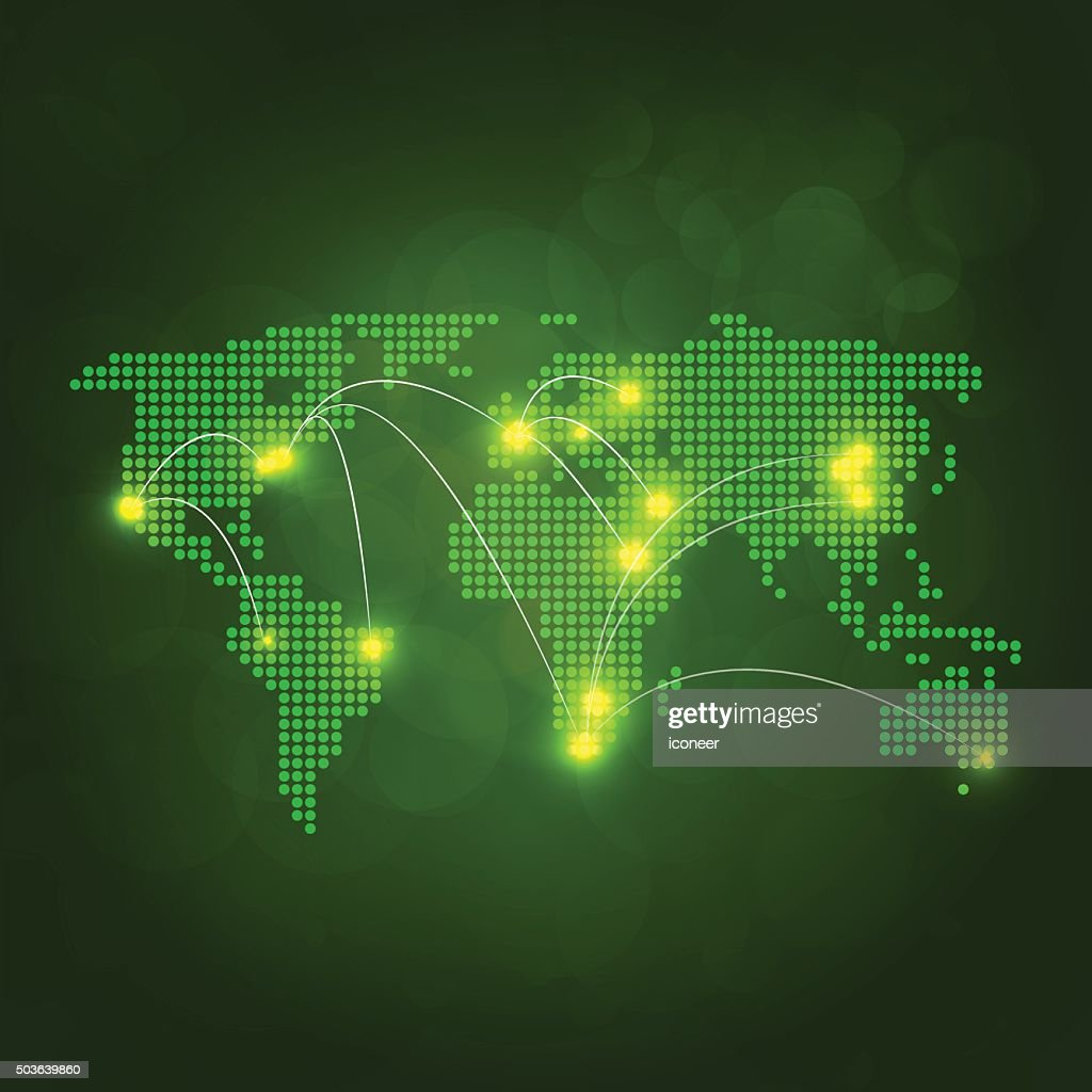 Dotted world map with yellow lights connected on dark background dotted world map with yellow lights connected on dark background vector art gumiabroncs Images