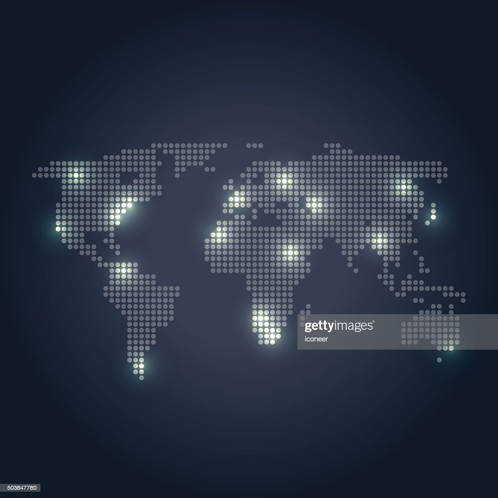 Dotted world map with yellow lights on dark background vector art dotted world map with yellow lights on dark background vector art gumiabroncs Gallery