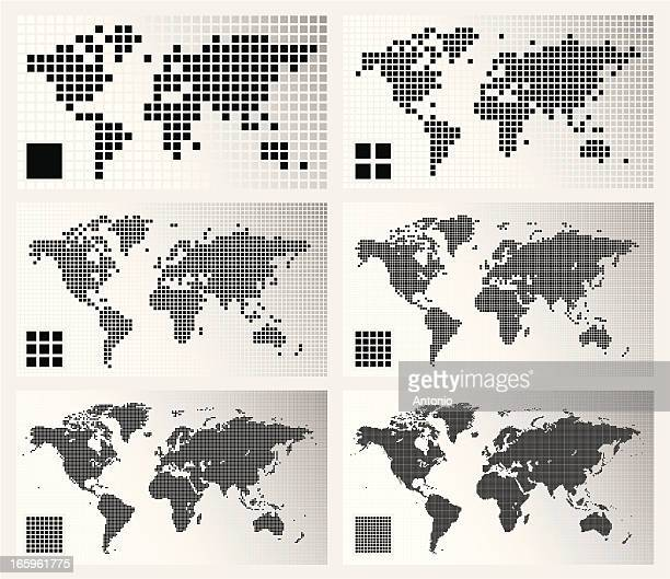 dotted world maps in different resolutions - square stock illustrations