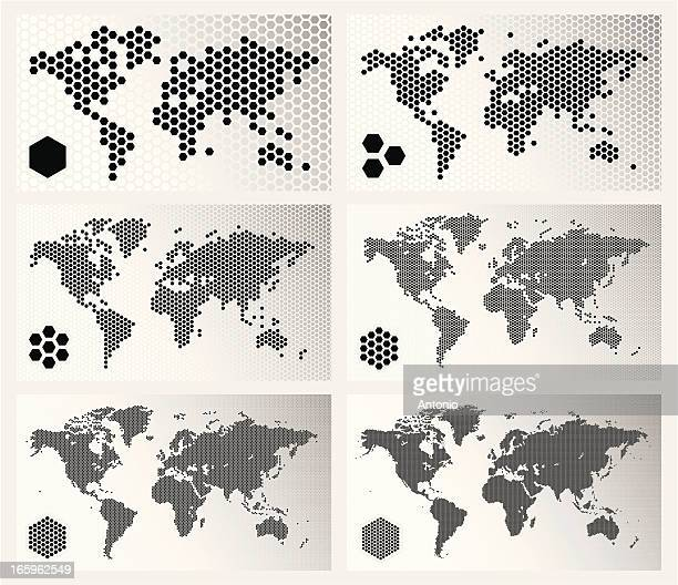 dotted world maps in different resolutions - hexagon stock illustrations