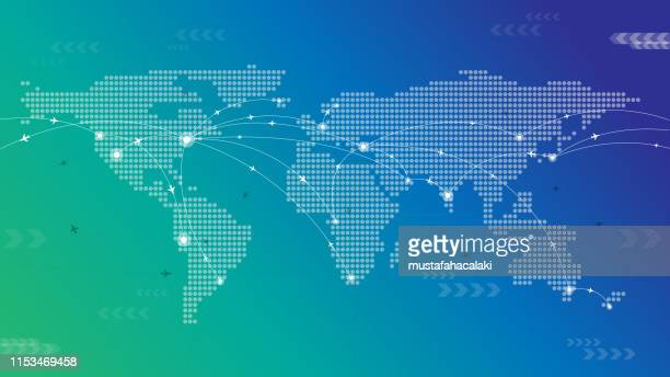 dotted world travel map - global business stock illustrations