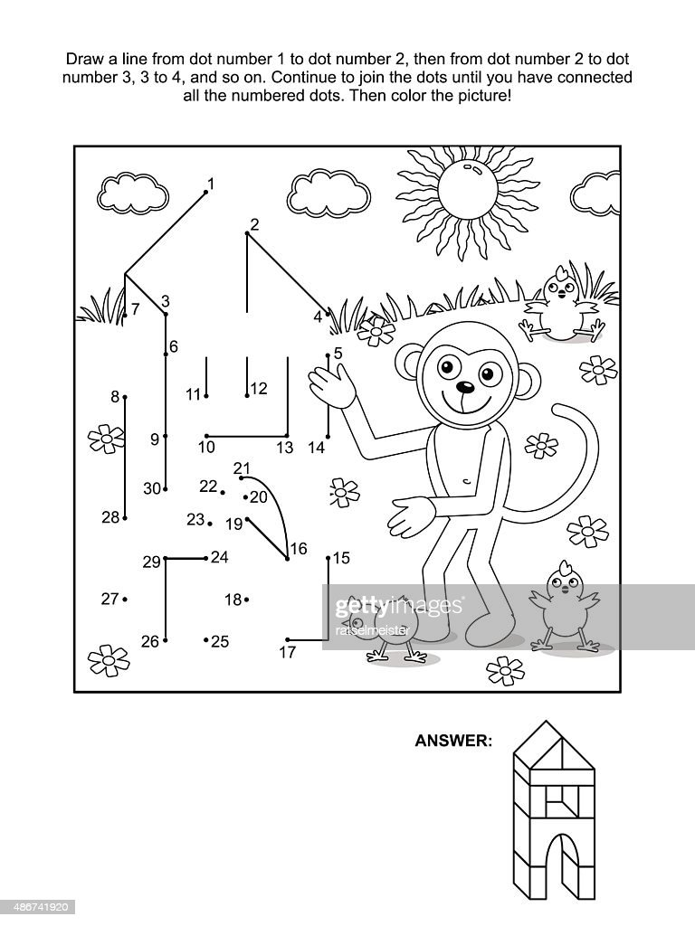 Dottodot And Coloring Page Monkey The Builder Vector Art | Getty Images