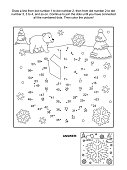 Dot-to-dot and coloring page - snowflake