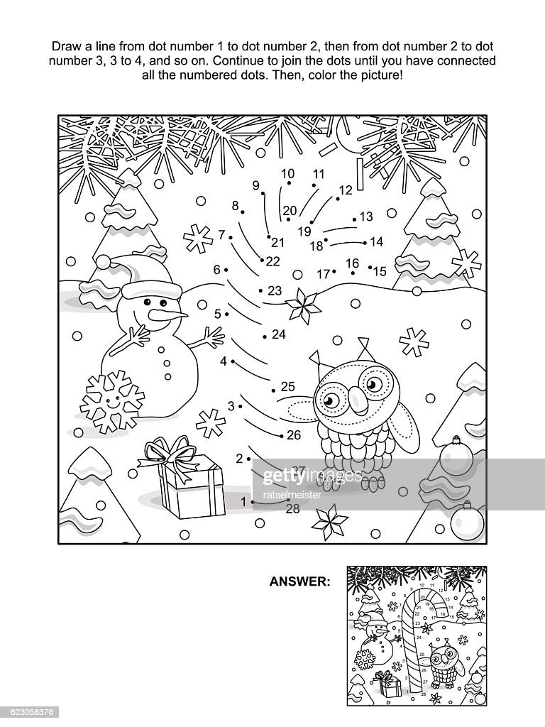 Dot-to-dot and coloring page with candy cane