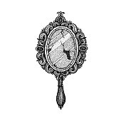 Dotwork Ancient Handle Mirror