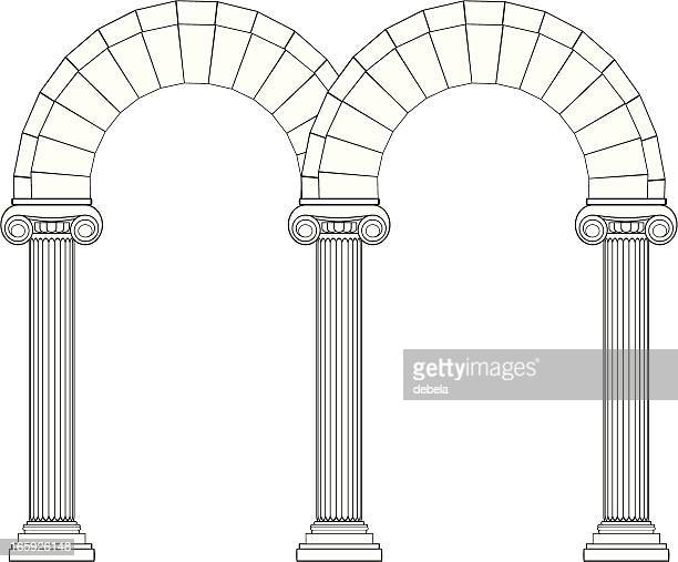 double arch in ionic style - architectural feature stock illustrations, clip art, cartoons, & icons