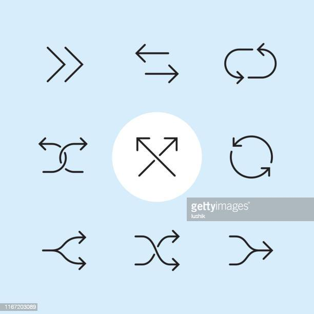 double arrow symbols - outline icon set - shuffling stock illustrations