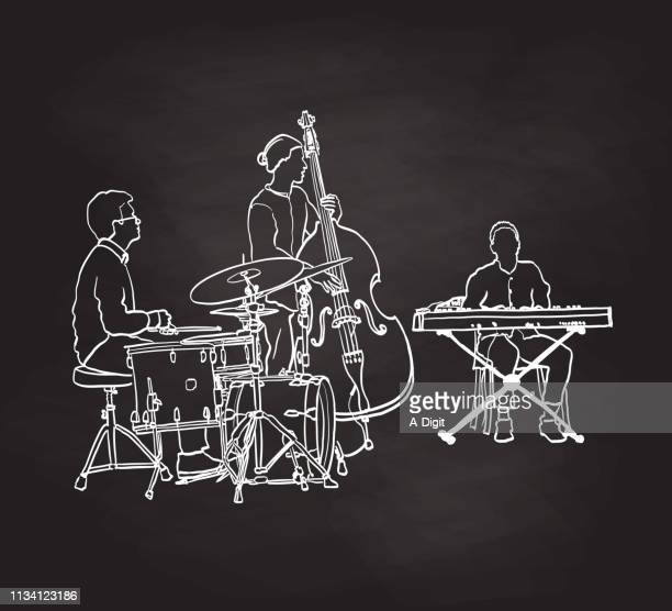 double bass and keyboard band - bass instrument stock illustrations, clip art, cartoons, & icons