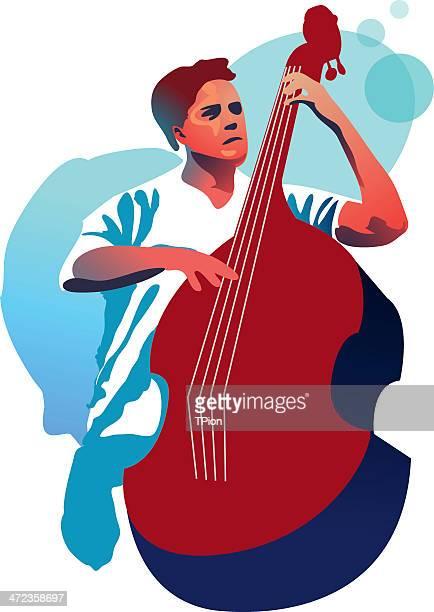 double bassist - bass instrument stock illustrations, clip art, cartoons, & icons