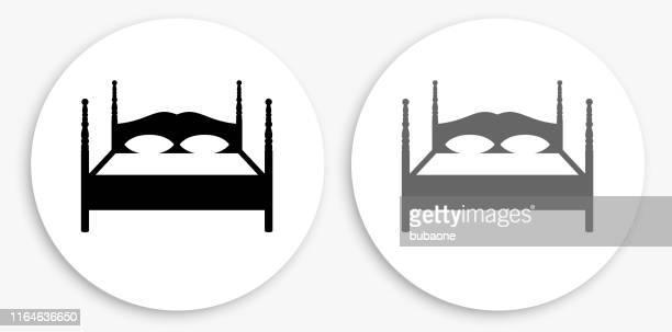 illustrations, cliparts, dessins animés et icônes de double bed noir et blanc round icône - grand lit