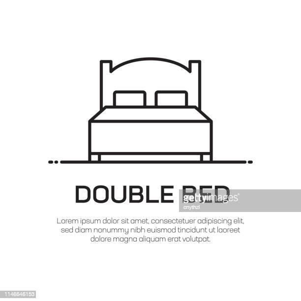 double bed vector line icon - simple thin line icon, premium quality design element - mattress stock illustrations, clip art, cartoons, & icons