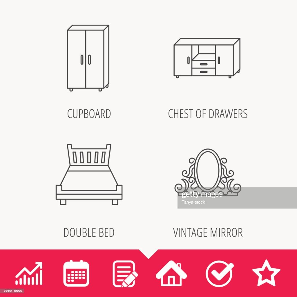Double bed, vintage mirror and cupboard icons.