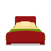 Double bed with bed. Vector cartoon illustration.