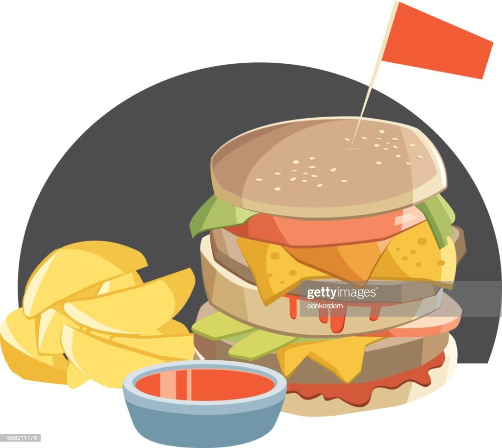 Double burger and french fries : Vector Art