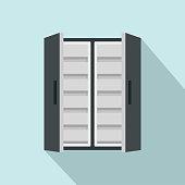 Double door freeze icon, flat style