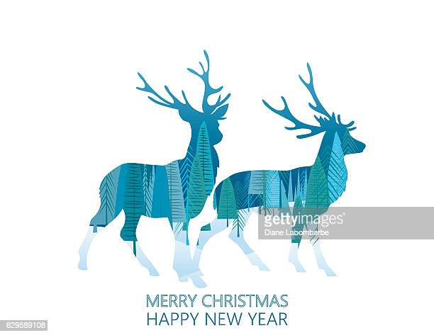 Double Exposure Christmas Card -  Reindeer Pair