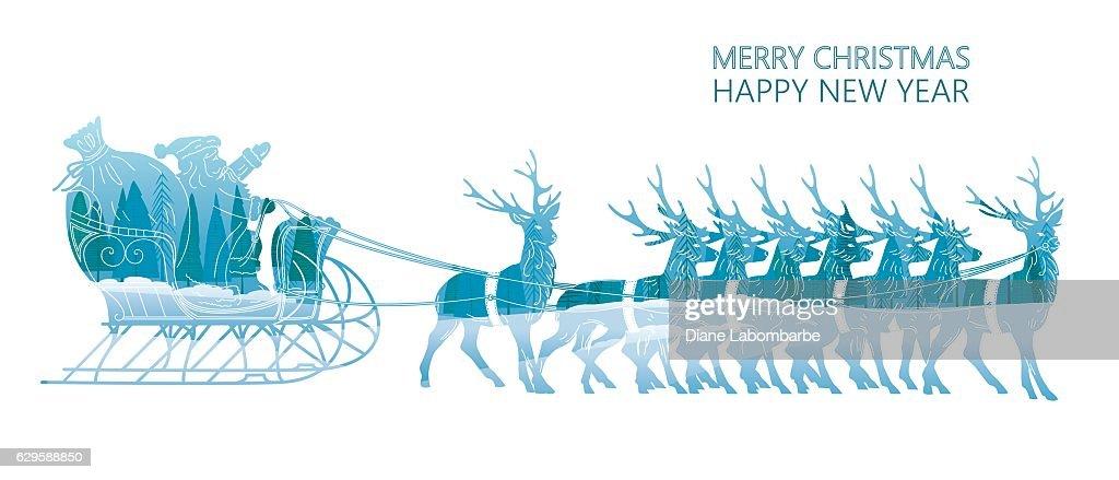 Double Exposure Christmas Card - Santa and His Reindeer