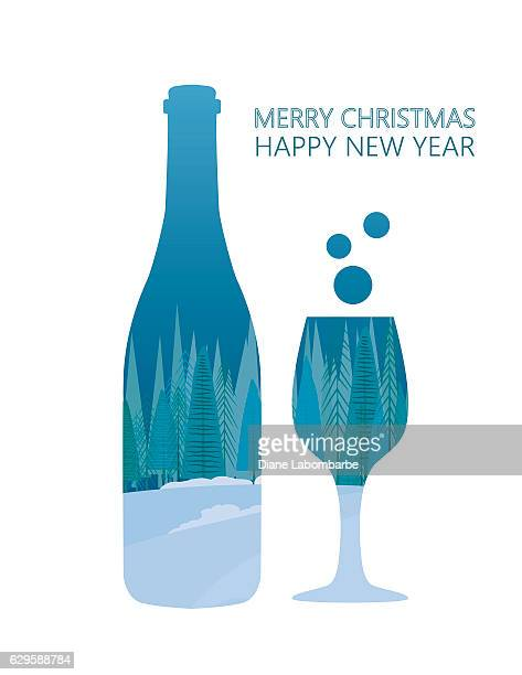 Double Exposure Christmas Card - Wine Bottle And Glass