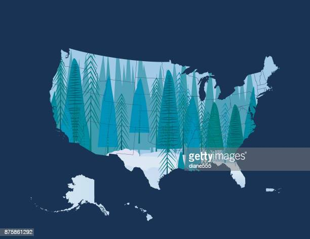 Double Exposure Christmas Scene With United States Map