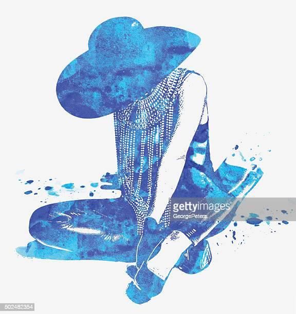 Doble exposición ilustración de mujer misteriosa con el Blues