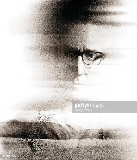 double exposure portrait of a serious man and nature - multiple exposure stock illustrations